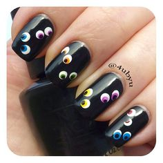Spooky Eyes Halloween Nail Art