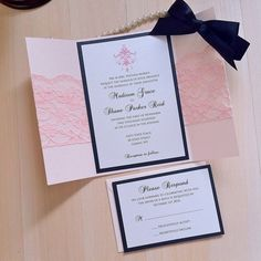 Blush Lace & Black Gatefold Wedding Invitation by PAPER & LACE