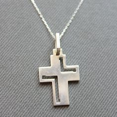 Sterling Silver Cross Necklace  Cross Charm by LibertaFashion, $23.75