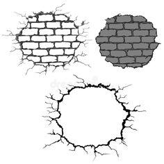 Illustration about Set of crushed brick walls. Illustration of shape, hole, vector - 11157059 Graffiti Art Drawings, Graffiti Doodles, Graffiti Designs, Graffiti Lettering, Pencil Art Drawings, Cool Art Drawings, Easy Drawings, Brick Wall Drawing, Drip Art
