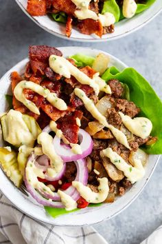 """These deconstructed loaded bacon burger bowls have all the goodies you love in a burger! Sautéed mushrooms and onions, crispy bacon, pickles, tomatoes, red onion and a """"cheesy"""" ranch sauce! Paleo, Whole30, and keto friendly and seriously delicious! Big Mac, Paleo Whole 30, Whole 30 Recipes, Paleo Running Momma, Hamburger, Bacon, Crispy Sweet Potato, Lard, Gourmet"""
