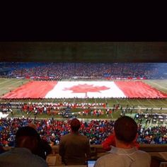 I love the giant flags at football games - great Bonus points to anyone who can guess what game, where, and when this was taken. Happy Canada Day, Photo A Day, Flags, Football, Games, My Love, Words, Soccer, Futbol