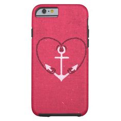 A fuschia pink vintage white anchor girly love heart design. A romantic love heart anchor design featuring a vintage white anchor and cool black rope pattern in the shape of a cute romance heart on a girly hot pink fuschia canvas texture background. Get this pink Valentines Day I heart nautical design. Trendy, chic and unique case for every occasion. The perfect gift idea for her.
