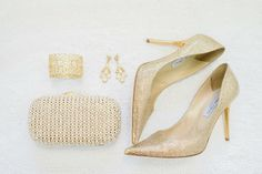 Gold Wedding Accessories #JimmyChoo | See More Ideas: http://thebridaldetective.com/the-ultimate-guide-to-metallics/