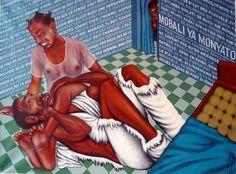 Chéri Samba. Bataille dans un Foyer, 1990