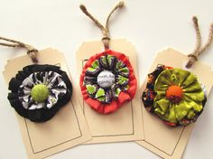 Halloween gift tags Fall Decoration Fall Fabric tags by Itsewbella