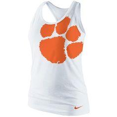 Nike Clemson Tigers Ladies Logo Tri-Blend Racerback Tank Top - White