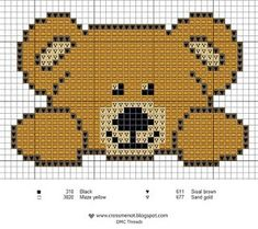 I must cross stitch this adorable bear. I must cross stitch this adorable bear. Cross Stitch For Kids, Cross Stitch Baby, Cross Stitch Animals, Cross Stitch Charts, Cross Stitch Designs, Cross Stitch Patterns, Knitting Charts, Baby Knitting Patterns, Free Knitting