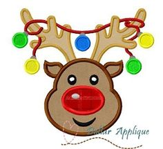 Reindeer with Lights Applique - 3 Sizes! | What's New | Machine Embroidery Designs | SWAKembroidery.com Dollar Applique