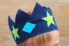 Sewing Crafts for Kids | Easy Sewing Project with Upcycled Jeans | Kids Play Crown | DIY Projects & Crafts by DIY JOY at http://diyjoy.com/upcycled-diy-projects-from-old-jeans