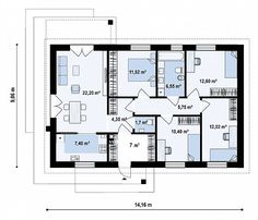 Первый этаж 100,9 м² дома Z473 20 M2, House Construction Plan, Floor Plants, 1, Flooring, How To Plan, Architects, Interiors, House 2
