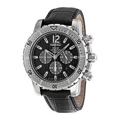 Seiko Solar Chronograph Black Dial Black Leather Mens Watch SSC223P2 ** Check out the image by visiting the link.