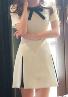White Patchwork Bow Tie Collar Pleated Short Sleeve Fashion Stylish Cute A-line Midi Dress - Mini Dresses - Dresses Casual Dresses, Fashion Dresses, Short Sleeve Dresses, Dresses Dresses, Mini Dresses, Evening Dresses, Pretty Dresses, Beautiful Dresses, Sewing Dress