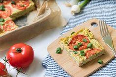 Frittata s tofu, cuketou a paradajkami Frittata, Tofu, Dairy, Healthy Recipes, Healthy Food, Low Carb, Cheese, Vegan, Fitness