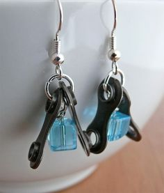 Cycling recycled metal bicycle chain blue glass cube earrings bike jewelry.