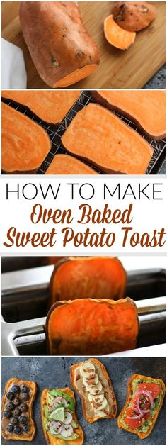 A step-by-step photo tutorial showing how to make oven baked Sweet Potato Toast. A big-batch method for sweet potato toast that's perfect for weekend meal preps. (Whole 30 Recipes Eggplant) Whole 30 Recipes, Whole Food Recipes, Cooking Recipes, Amish Recipes, Crockpot Recipes, Weekend Meal Prep, Healthy Snacks, Healthy Eating, Eating Clean
