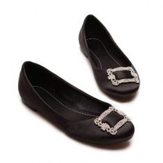 $21.65 Casual Women's Flat Shoes With Solid Color Rhinestone Design