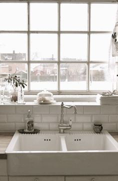farm sink, subway tile and industrial window. farm sink, subway tile and industrial window. White on white or black on naturals, either way its a succe. New Kitchen, Kitchen Decor, Kitchen White, White Kitchens, Kitchen Walls, Kitchen Sinks, Kitchen Islands, Double Farmhouse Sink, Farmhouse Sinks