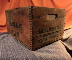 Vintage Wooden Embalming Fluid Box by RyokosVintiques...I have one of these from my grandpa...how cool!