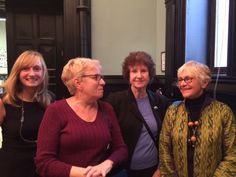 """On October 5, the New York City chapter of the Women's National Book Association held a panel with three """"Women of Uncommon Talent"""" (Lynne Sharon Schwartz, Hilma Wolitzer and Estelle Parsons, with moderator Roz Reisner) at Manhattan's historic Jefferson Market Library. Pictured (l. to r.), Annie Stone, v-p of programming, WNBA-NYC; Andrea Baron, treasurer, WNBA-NYC, Wolitzer, and Parsons."""