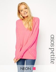 ASOS PETITE Sweater in Fluffy Yarn with V Neck.  I like pink.