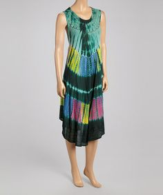 Love this Green & Blue Abstract Embroidered Shift Dress on #zulily! #zulilyfinds