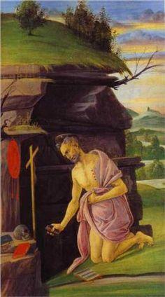 St Jerome Metal Print by Botticelli Sandro Giorgio Vasari, St Jerome, Renaissance Kunst, Renaissance Paintings, High Renaissance, Web Gallery Of Art, Painting Gallery, Italian Painters, Italian Artist
