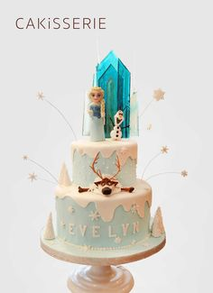 Frozen Cake - Happy Birthday - from Olaf, Elsa and Sven! Elsa's castle is made out of poured sugar. #Cakisserie