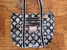 Coach Poppy Op Art Glam Large Tote Bag 13826 Black Silver Purple Lining   eBay