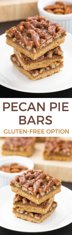 These easy pecan pie bars with a shortbread crust and caramel pecan topping can be made with gluten-free, all-purpose or whole wheat flours and are made without corn syrup.