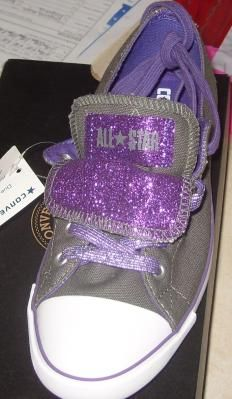 Converse Charcoal/sparkle Purple CT As Light Double Tongue OX