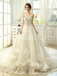 modabridal.co.uk SUPPLIES UK Style Church Classic & Timeless Winter Sleeveless Natural Lace-up Beading A-line Wedding Dress WEDDING DRESSES