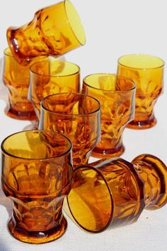 dark amber glass Georgian pattern tumblers, vintage drinking glasses set of 8