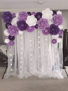 Paper Flowers Set of Paper flowers for baby nursery,Birthday Party Decor, Baby Shower decor, Photo backdrop decor Decoration Evenementielle, Stage Decorations, Birthday Party Decorations, Baby Shower Decorations, Flower Decorations, Birthday Parties, Wedding Decorations, Purple Party Decorations, 70th Birthday