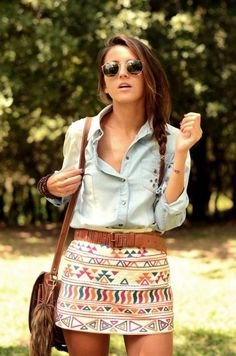 totally adorable relaxed chic...faded chambray shirt + tribal print miniskirt + camel braided leather belt