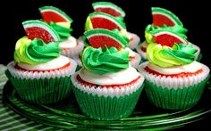 Watermelon Cup cakes HD Wallpaper Cake, Cup Cake, HD, Wallpapers, Chocolate, Cream, Raspberry, Strawberry, Vanilla, Cakes, Images, Photos, Pictures, Background, Birthday Cake