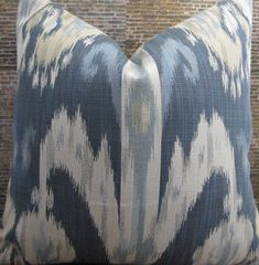 Designer Pillow Cover 16 x 16, 20 x 20, 22 x 22 - Nah Ikat Jacquard - Blue and Tan by 3BModLiving on Etsy https://www.etsy.com/listing/252052003/designer-pillow-cover-16-x-16-20-x-20-22