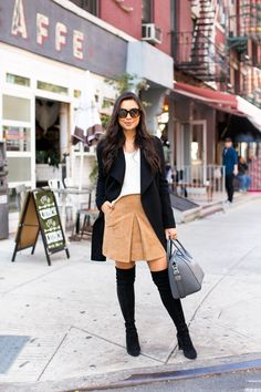 October in Nolita - Joseph coat // Vince sweater // Vince skirt Stuart Weitzman boots // Givenchy bag Thursday, October 2016 Winter Skirt Outfit, Skirts With Boots, Suede Skirt, Petite Fashion, Autumn Winter Fashion, Winter Style, Fall Fashion, Types Of Fashion Styles, Fall Outfits