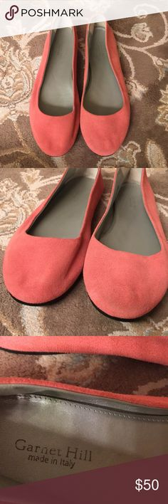 Garnet Hill suede ballet flats Beautiful like new Garnet Hill suede Belle ballet flats. These are almost a coral/pink color in my opinion. EUC. Made in Italy. Fit tts in my opinion. garnet hill Shoes Flats & Loafers