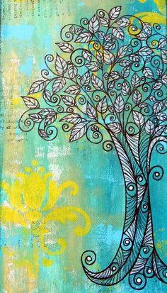 DIY Mixed Media Tree Art Projects (23)