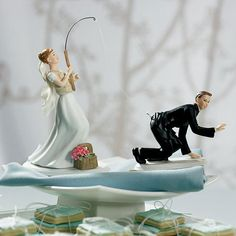 Gone Fishing Porcelain Wedding Cake Topper  by LoveandLuxeHandmade, $53.99