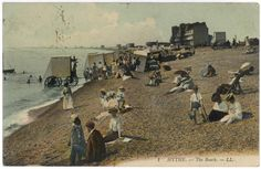 victorian beach photos | This photo shows holidaymakers on the beach at Hythe, in Kent. Can you ...
