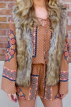 fall romper with fur vest for fall