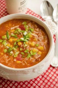 Zupa z kurczaka, kukurydzy i pomidorów Juicer Recipes, Soup Recipes, Diet Recipes, Healthy Recipes, Good Food, Yummy Food, Tasty, Food Porn, Food And Drink