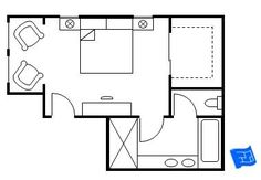 Master bedroom floor plan with the entrance straight into the bedroom. Double doors lead to the walk-in closet and a further door from the bedroom leads to the. How To Make A Small Bedroom Look Nice Master Bedroom Addition, Master Bedroom Plans, Master Bedroom Layout, Master Bedroom Bathroom, Bedroom Floor Plans, Bedroom Layouts, Closet Bedroom, Home Decor Bedroom, Garage Bathroom