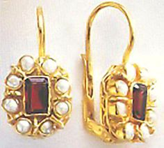 Miss Prism Garnet & Pearl Earrings Jewelry Classic from Ancient Rome