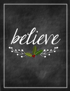 Christmas Printable - Believe - Chalkboard Print by kameaj on Etsy