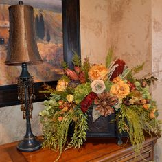 Items similar to Centerpiece Custom designed, silk and naturals blended on Etsy Artificial Floral Arrangements, Fall Floral Arrangements, Dried Flower Arrangements, Floral Centerpieces, Dried Flowers, Tuscan Decorating, Arte Floral, Flower Decorations, Fall Decor
