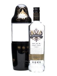 I MUST HAVE ONE!!!    Smirnoff Black Vodka / Matrioshka Doll  70cl / 40%  A bottle of Smirnoff Black in a special outer canister in the shape of a traditional Russian matrioshka doll.