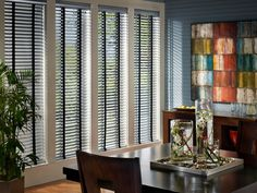 Hunter Douglas Macro Aluminum Blinds - Find these shades and more Hunter Douglas blinds, shutters an. Contemporary Window Treatments, Custom Window Treatments, Blinds For Large Windows, Window Blinds, Mini Blinds, Room Window, Stores Horizontaux, Hunter Douglas Blinds, Aluminum Blinds